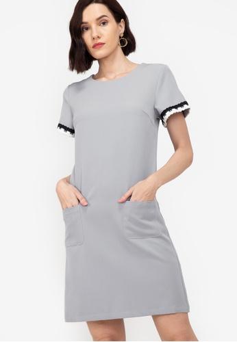 ZALORA WORK grey Trim Detail Dress 62682AA1BA6FA7GS_1