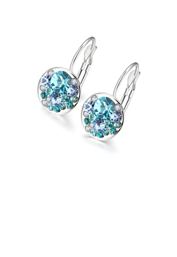 Glamorousky blue Fashion Elegant Round Earrings with Blue Austrian Element Crystal 42163ACEE8021CGS_1