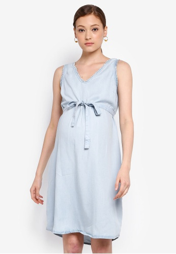 0e0df00d254a8 Mama.licious blue Maternity Adora Woven Abv Knee Dress 69F47AAA2E351CGS_1