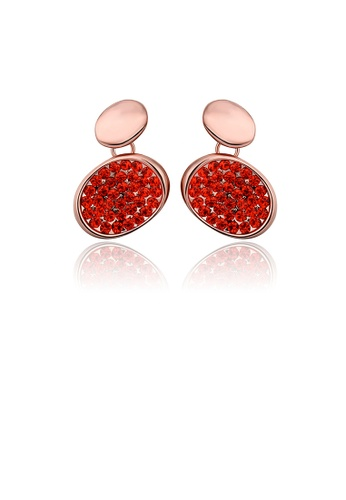 Glamorousky red Fashion Brilliant Plated Rose Gold Geometric Oval Red Cubic Zirconia Stud Earrings 49E29AC1062C12GS_1