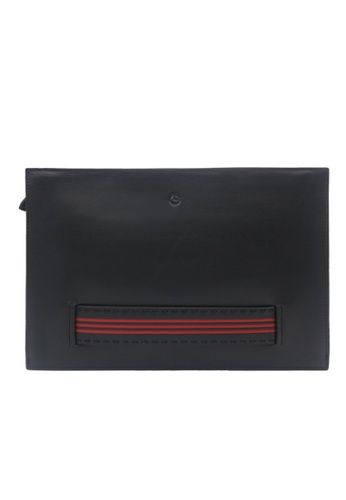 Goldlion black Goldlion Leather Clutch with Hand Strap (Red Stripes) F7821AC67E8415GS_1