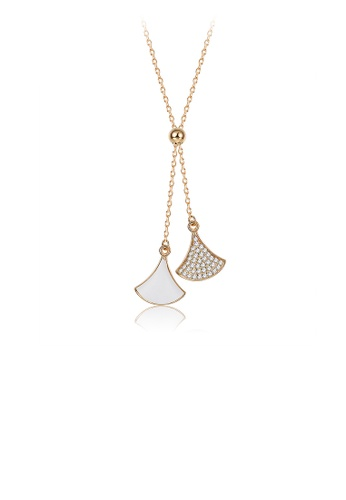 Glamorousky white 925 Sterling Silver Plated Gold Skirt Necklace with Austrian Element Crystal EE1F5AC5F4113DGS_1