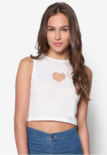 Lovey Dovey 心形zalora 手錶 評價鏤空短版背心, 服飾, 服飾