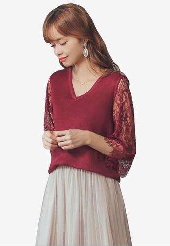 7de013ccb6e420 Buy Yoco V-Neck Cut Out Lace Sleeve Knit Top Online on ZALORA Singapore