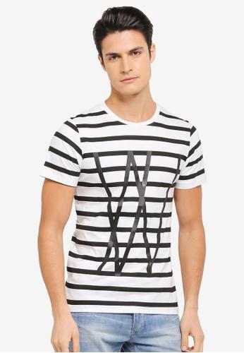 ZALORA 黑色 造型條紋T恤 E5071AA9D64AABGS_1