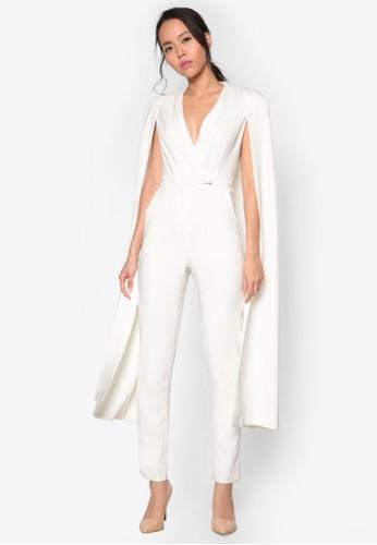簡約V領披肩zalora時尚購物網的koumi koumi連身褲, 服飾, 服飾