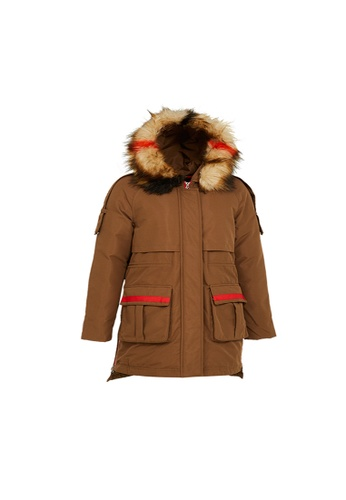 Universal Traveller brown Universal Traveller Trendy Down Jacket With Contrast Hood Fur - DJW 9055 CBA8DAAA8E188EGS_1