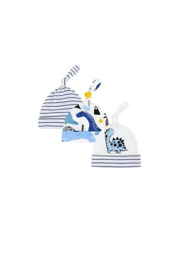 Little Kooma blue Baby Boy Hats 3 Piece Pack  0-6 Months - 0719 Stripe Dinosaur 136E1KCAE6EB0BGS_1