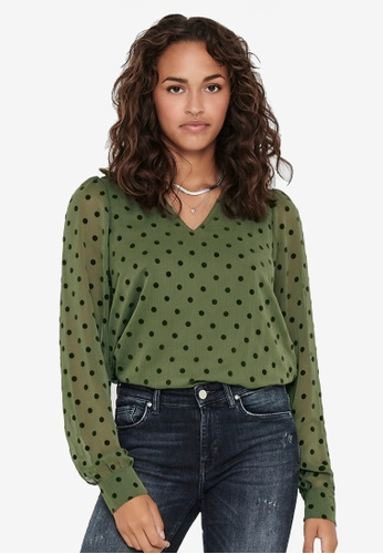 ONLY green Jess Puff Long Sleeves Top 5E810AA772F0D3GS_1