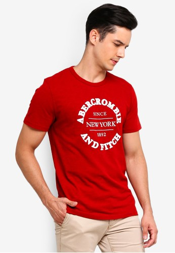 Abercrombie & Fitch red Tech Logo T-Shirt 418FFAAE91ED3EGS_1