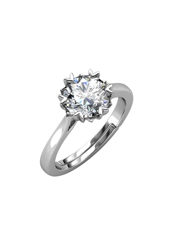 Her Jewellery silver CELÈSTA Moissanite - Le Fond Ring (925 Silver with 18K White Gold Plating) by Her Jewellery FDA12AC4D21330GS_1