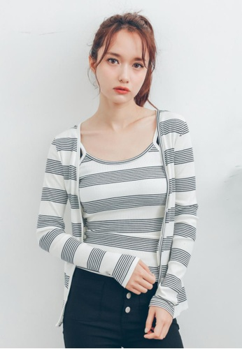 Shopsfashion grey and white Blouse and Cardigan Set SH656AA42QTPSG_1