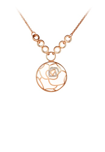 Glamorousky white Plated Rose Gold Flower Pendant with Austrian Element Crystal and Necklace D68C6AC345768BGS_1