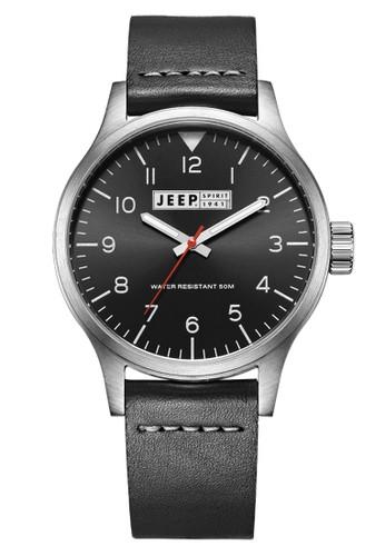 Jeep Spirit Men's Watch JPS50102 Black Silver Black Leather