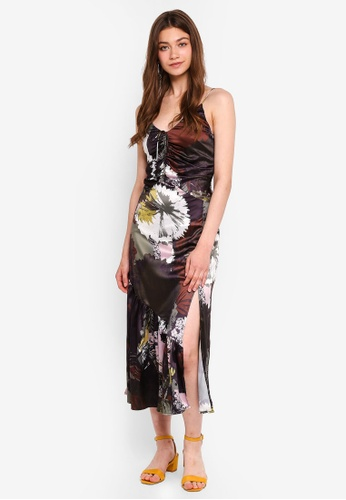 MDSCollections multi Gathered Tie Front Dress In Multi Floral 8E44AAA702F468GS_1