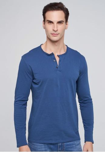 Sisley 藍色 素色長袖亨利衫 AACF4AA1C73DFDGS_1
