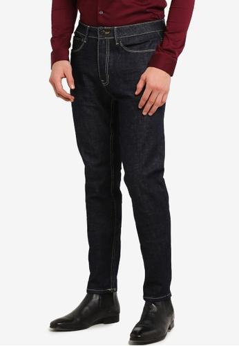 Burton Menswear London 海軍藍色 Raw Indigo Wash Carter Tapered Leg Jeans BU964AA0RZGHMY_1
