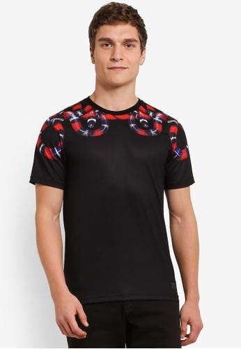 Flesh IMP black Snake Skin Printed T-Shirt FL064AA0S5TYMY_1