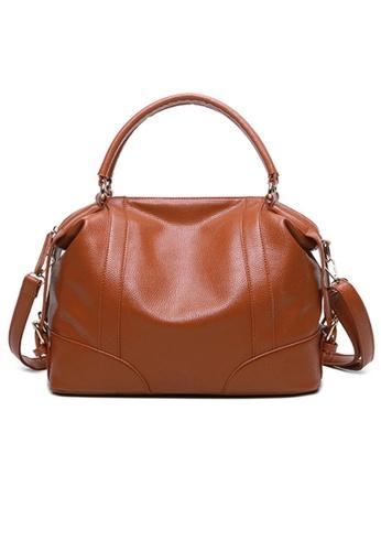 Lara brown Plain Top Handle Travel Bag With A Shoulder Strap - Brown 8DE09AC8A93D6DGS_1