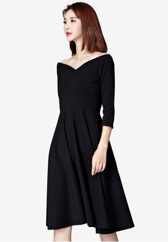 Lara black Slash V Neck Elegant Black Dress 7C56EAACA26995GS_1