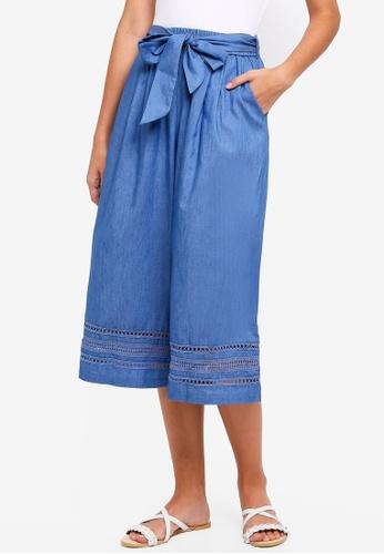 ZALORA blue Culottes With Lace Trim Hem 877F7AAF1DF7B9GS_1