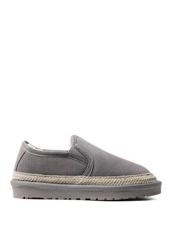 Twenty Eight Shoes 灰色 牛反絨麻花織帶冬鞋 VC8 A0155SH287AD55GS_1
