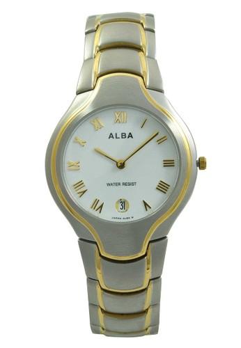 ALBA Jam Tangan Pria - Silver Gold White - Stainless Steel - AVKA70