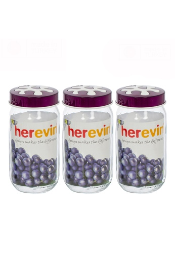 Herevin Herevin 3 Pcs 1000ML Canister Set / Storage Container Set / Jar Set / Kitchen Organizers / Balang Kaca - Green / Purple / Red F849AHL9321471GS_1