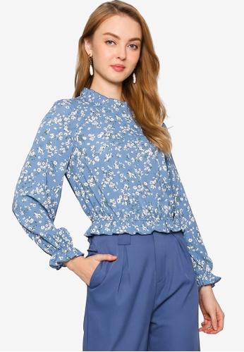 ZALORA WORK blue Blouson Long Sleeve Top FFAAAAA488DF60GS_1