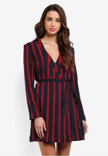 MISSGUIDED navy Contrast Stripe Tie Waist Shift Dress ABC30AA91FB94FGS_1