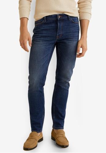MANGO Man 藍色 Slim-Fit Faded Dark Wash Tim Jeans 09B89AAE0820FCGS_1