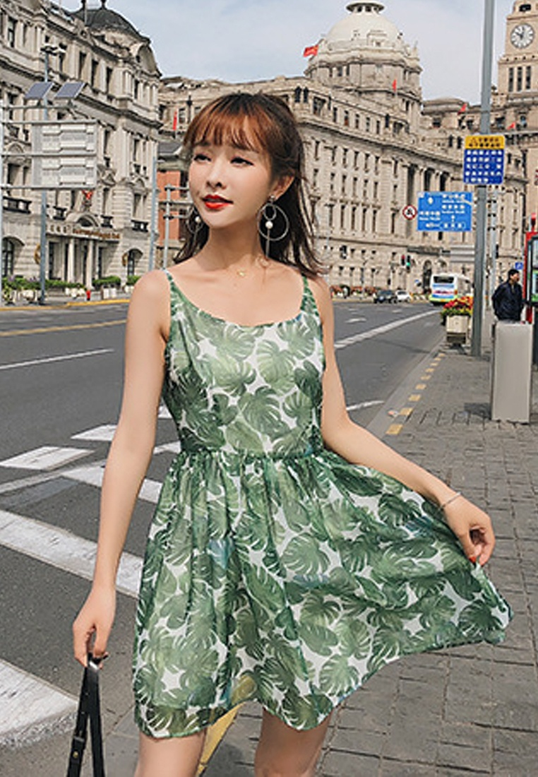 New Green Dress Sunnydaysweety One Floral A061222 Piece 2018 Green dwHdA8