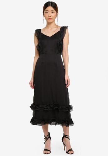 Something Borrowed black Pleated Trim Midi Dress 69624AA48F1E31GS_1