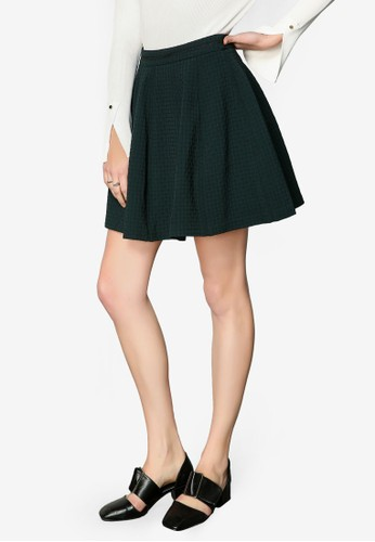 Hopeshow green High Waist Box Pleat Skirt 5B2F0AAB7ADF2CGS_1