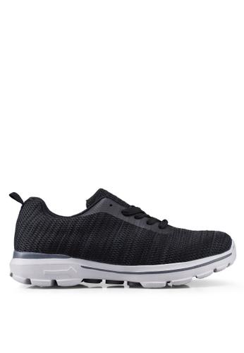 UniqTee black Lightweight Lace Up Sport Sneakers 346E7SH5EF57B6GS_1