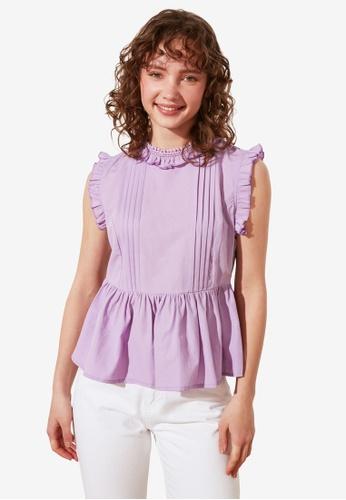 Trendyol purple Petite Frilly High Neck Sleeveless Top 092E1AA31ED667GS_1