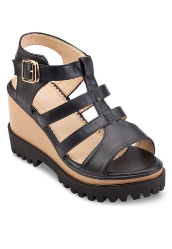 厚esprit品牌介绍底楔型跟多帶涼鞋, 女鞋, 鞋