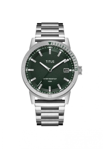 Solvil et Titus green Nordic Tale Men's 3 Hands Date Quartz Watch In Dark Green Dial And Stainless Steel Bracelet A35A5AC9D0732FGS_1