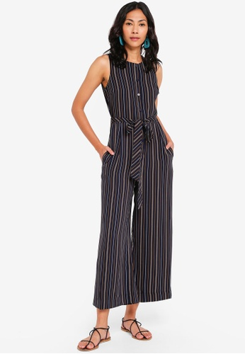 d1f72727a25e Buy WAREHOUSE Textured Stripe Jumpsuit | ZALORA HK