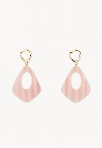 Pomelo pink Stripe Plated Drop Earrings - Pink C950EACCF587F0GS_1