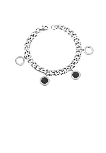 Glamorousky silver Fashion Simple Roman Numerals Geometric Round 316L Stainless Steel Bracelet 5CFBBAC43D2CF0GS_1