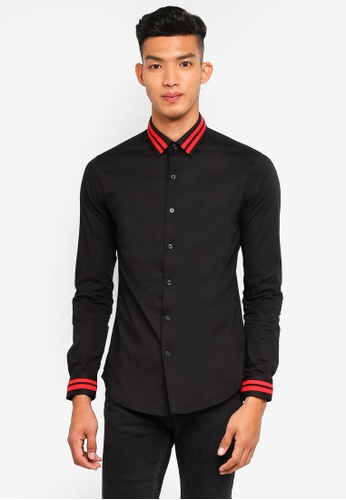 Topman black Long Sleeve/ Black/ Tape Collar/ Muscle Fit/ Classic Collar 3922EAA60AAECDGS_1