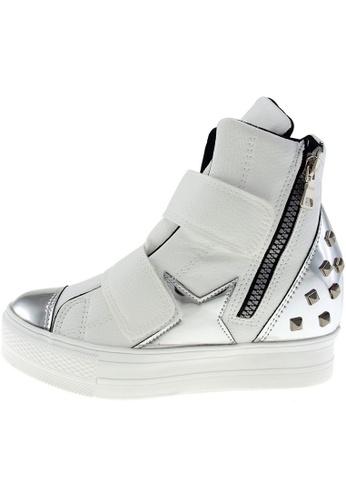 Maxstar 白色 新款韩国鞋C2-Belt-TC時尚皮革布混合女白色銀色 US Women Size MA345SH29HDQTW_1