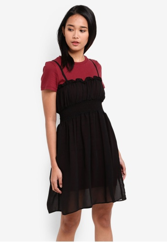 Something Borrowed black 2-In-1 Sheer Smocked Dress 71010AAE1C7432GS_1