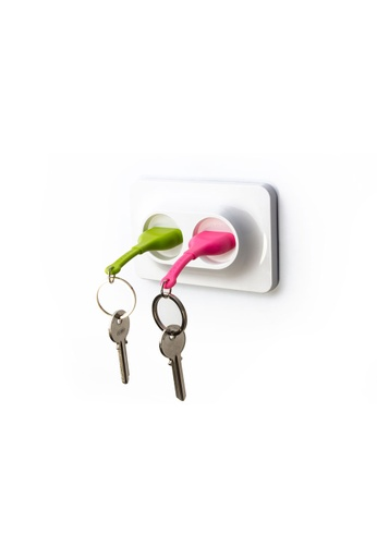 Qualy Qualy Double Unplug Key Ring (Green/Pink) C77C0HLCF6144FGS_1