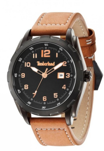 Timberland brown Timberland Newmarket TBL.13330XSB/02A Brown Leather Strap Black Dial Men Watch TI063AC20EKXMY_1