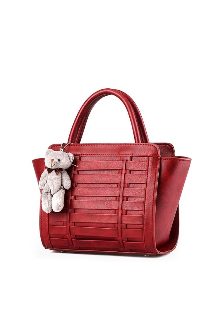 KL16041 Stylish Leather Handbag Shoulder Bag with Teddy Bear Keychain