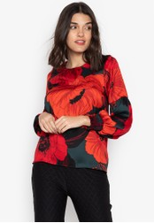 DEBENHAMS red The Collection Petite - Col Pt English Bloom Volume Slv Blouse 97BEFAAC0BBC72GS_1
