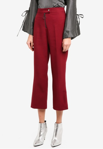 TOPSHOP red Hardware Kick Flare Trousers TO412AA0SIWXMY_1
