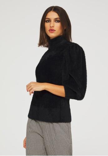 Sisley black Sweater in Faux Fur E1CC8AA08DF39CGS_1
